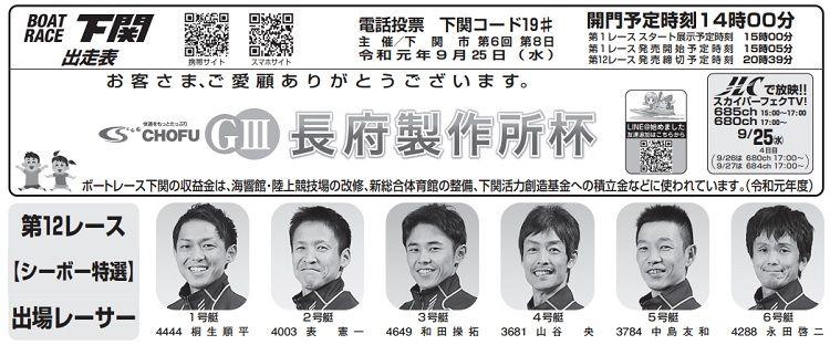【下関競艇予想(9/25)】G3長府製作所杯(2019)4日目の買い目はコレ!