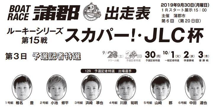 【蒲郡競艇予想(9/30)】ルーキーシリーズ第15戦-スカパー!・JLC杯(2019)4日目の買い目はコレ!