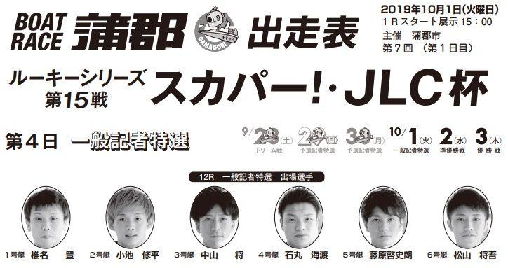 【蒲郡競艇予想(10/1)】ルーキーシリーズ第15戦-スカパー!・JLC杯(2019)4日目の買い目はコレ!