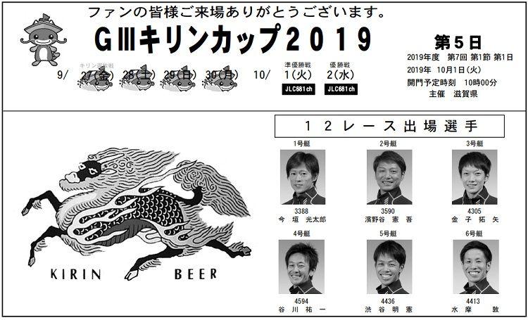 【びわこ競艇予想(10/1)】G3キリンカップ(2019)5日目の買い目はコレ!