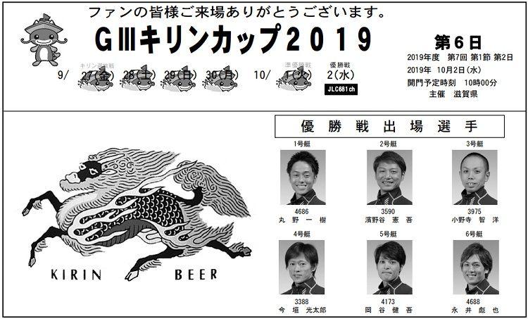 【びわこ競艇予想(10/2)】G3キリンカップ(2019)最終日の買い目はコレ!
