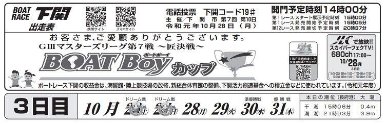 【下関競艇予想(10/28)】G3マスターズリーグ第7戦〜匠決戦〜(2019)3日目の買い目はコレ!