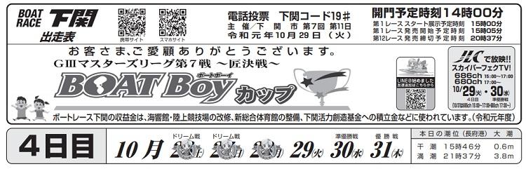 【下関競艇予想(10/29)】G3マスターズリーグ第7戦〜匠決戦〜(2019)4日目の買い目はコレ!