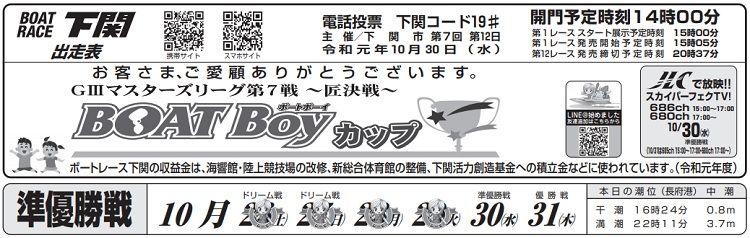 【下関競艇予想(10/30)】G3マスターズリーグ第7戦〜匠決戦〜(2019)5日目の買い目はコレ!