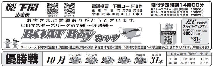 【下関競艇予想(10/31)】G3マスターズリーグ第7戦〜匠決戦〜(2019)最終日の買い目はコレ!