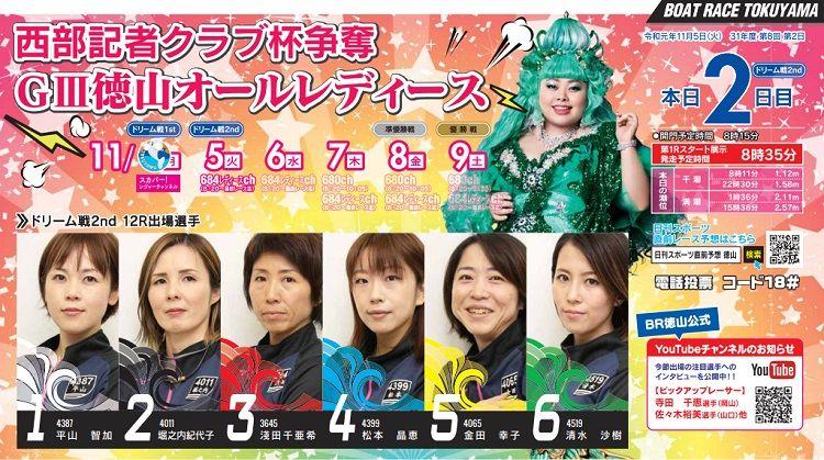 【徳山競艇予想(11/6)】G3西部記者クラブ杯争奪-徳山オールレディース(2019)2日目の買い目はコレ!
