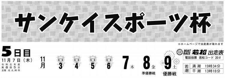 【若松競艇予想(11/7)】サンケイスポーツ杯(2019)5日目の買い目はコレ!