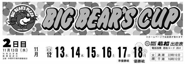 【若松競艇予想(11/13)】ビッグベアーズカップ(2019)2日目の買い目はコレ!
