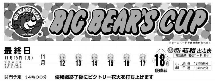 【若松競艇予想(11/18)】ビッグベアーズカップ(2019)最終日の買い目はコレ!