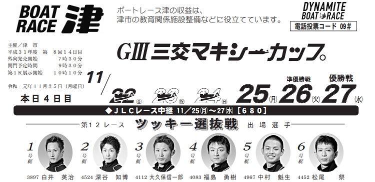 【津競艇予想(11/25)】G3三交マキシーカップ(2019)4日目の買い目はコレ!