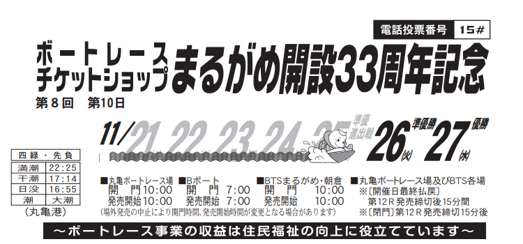 【丸亀競艇予想(11/27)】BTSまるがめ開設33周年記念(2019)最終日の買い目はコレ!