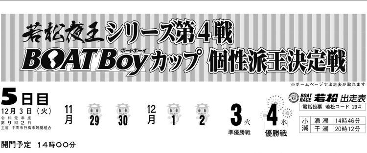 【若松競艇予想(12/3)】若松夜王シリーズ第4戦BOATBoyカップ個性派王決定戦(2019)5日目の買い目はコレ!