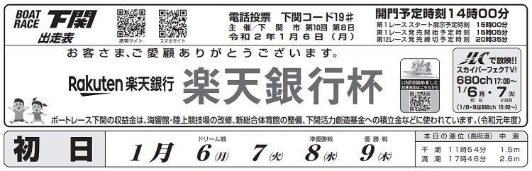 【下関競艇予想(1/6)】 楽天銀行杯(2020)初日の買い目はコレ!