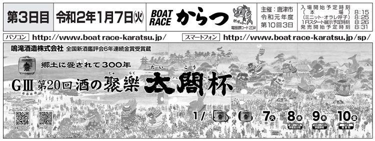 【唐津競艇予想(1/7)】 第20回・酒の聚楽太閤杯(2020)3日目の買い目はコレ!