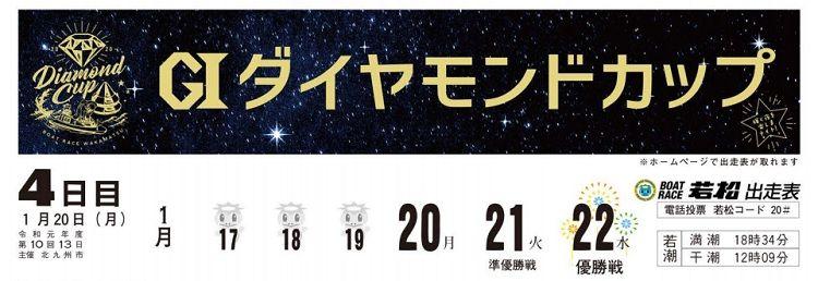 【若松競艇予想(1/20)】G1ダイヤモンドカップ(2020)4日目の買い目はコレ!