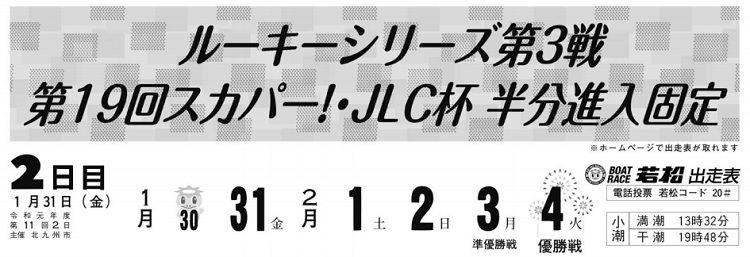 【若松競艇予想(1/31)】第19回スカパー!・JLC杯半分進入固定(2020)2日目の買い目はコレ!