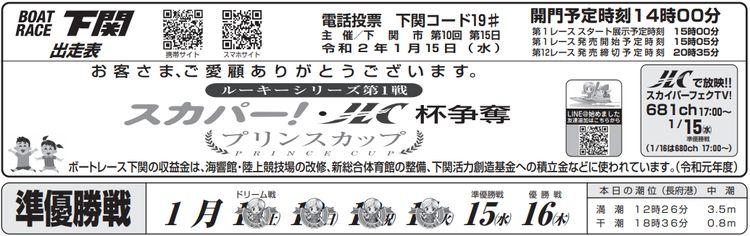 【下関競艇予想(1/16)】ルーキーシリーズ スカパー!・JLC杯争奪プリンスカップ(2020)最終日の買い目はコレ!