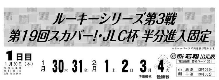 【若松競艇予想(1/30)】第19回スカパー!・JLC杯半分進入固定(2020)初日の買い目はコレ!
