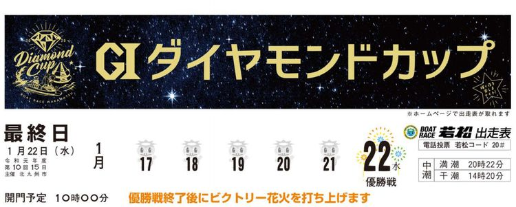 【若松競艇予想(1/22)】G1ダイヤモンドカップ(2020)最終日の買い目はコレ!