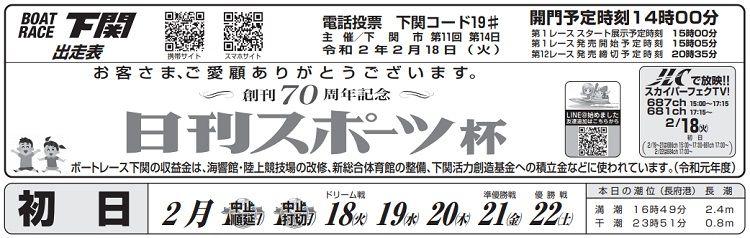 【下関競艇予想(2/18)】創刊70周年記念・日刊スポーツ杯(2020)初日の買い目はコレ!