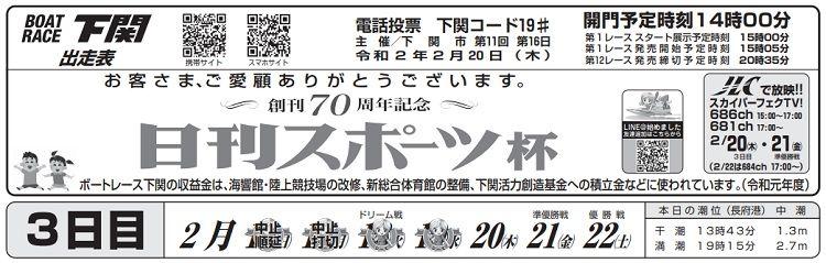 【下関競艇予想(2/20)】創刊70周年記念・日刊スポーツ杯(2020)3日目の買い目はコレ!