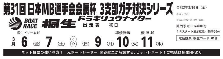 【桐生競艇予想(3/6)】日本MB選手会会長杯・3支部ガチ対決シリーズ(2020)初日の買い目はコレ!