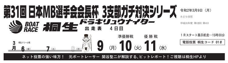 【桐生競艇予想(3/9)】日本MB選手会会長杯・3支部ガチ対決シリーズ(2020)4日目の買い目はコレ!