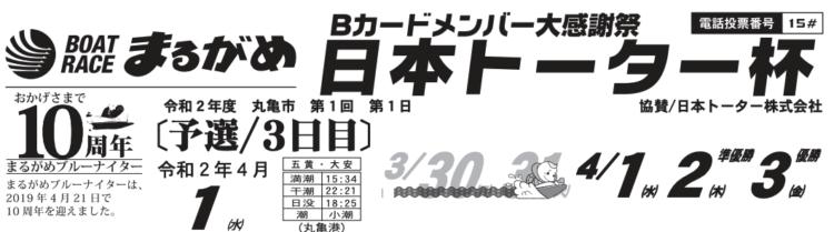 【丸亀競艇予想(4/1)】日本トーター杯(2020)3日目の買い目はコレ!