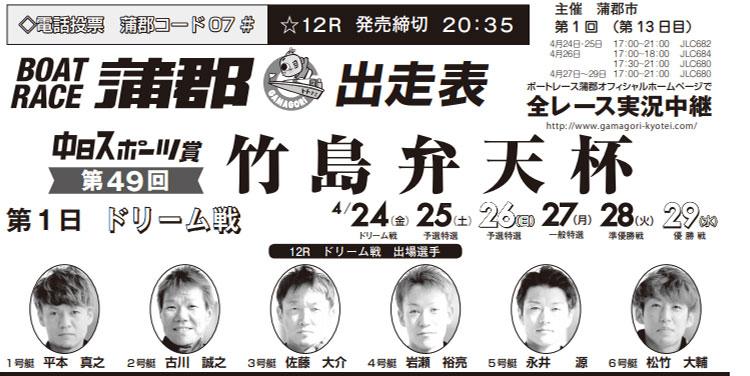 【蒲郡競艇予想(4/24)】中日スポーツ賞(2020)初日の買い目はコレ!