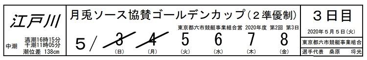 【江戸川競艇予想(5/5)】月兎ソース協賛ゴールデンカップ(2020)3日目の買い目はコレ!