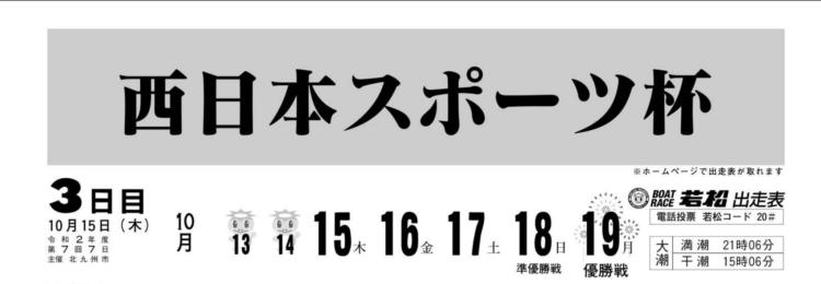 【若松競艇予想(10/15)】西日本スポーツ杯(2020)3日目の買い目はコレ!
