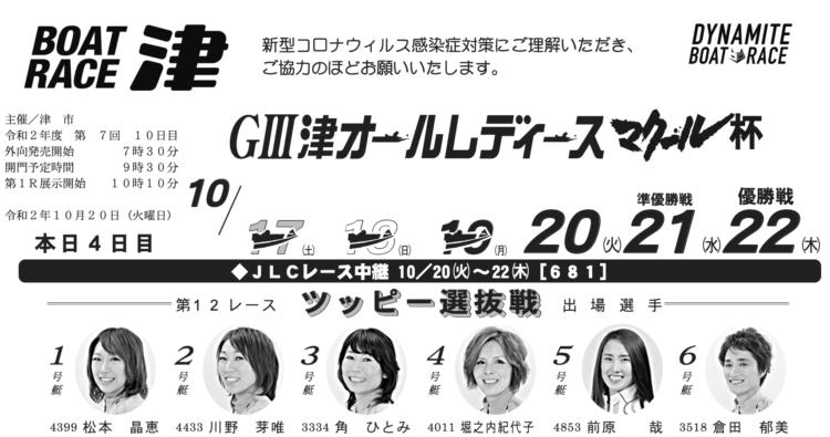 【津競艇予想(10/20)】マクール杯(2020)4日目の買い目はコレ!