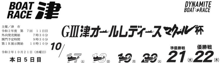 【津競艇予想(10/21)】G3津オールレディース マクール杯(2020)5日目の買い目はコレ!
