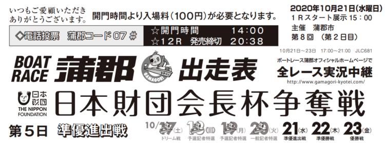 【蒲郡競艇予想(10/21)】日本財団会長杯争奪戦(2020)5日目の買い目はコレ!