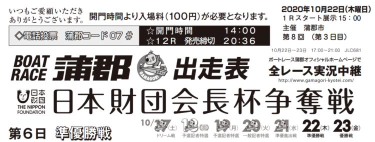 【蒲郡競艇予想(10/22)】日本財団会長杯争奪戦(2020)6日目の買い目はコレ!
