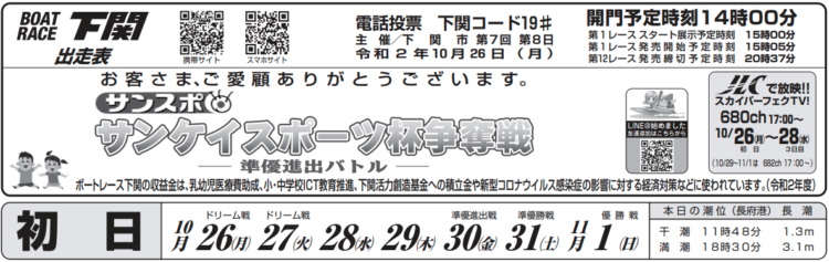 【下関競艇予想(10/26)】サンケイスポーツ杯争奪戦(2020)初日の買い目はコレ!