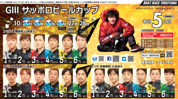 【徳山競艇予想(10/27)】G3サッポロビールカップ(2020)5日目の買い目はコレ!