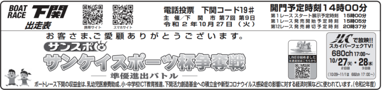 【下関競艇予想(10/27)】サンケイスポーツ杯争奪戦(2020)2日目の買い目はコレ!
