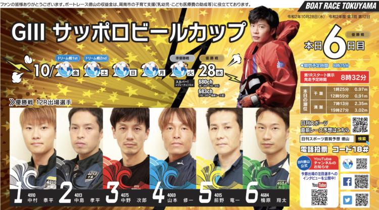 【徳山競艇予想(10/28)】G3サッポロビールカップ(2020)最終日の買い目はコレ!