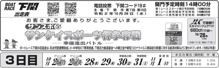 【下関競艇予想(10/28)】サンケイスポーツ杯争奪戦(2020)3日目の買い目はコレ!