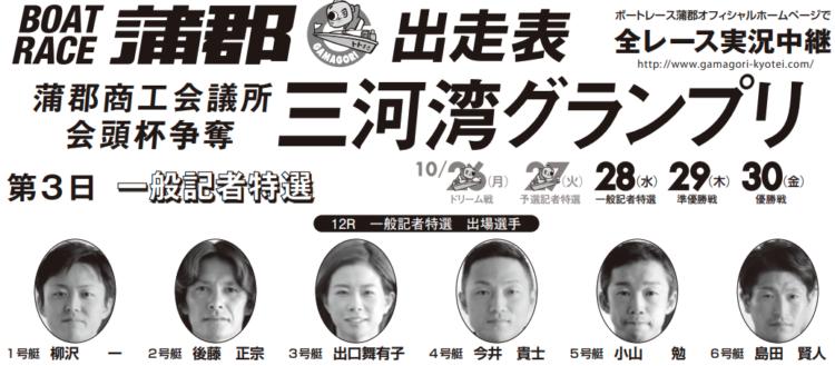 【蒲郡競艇予想(10/28)】三河湾グランプリ(2020)3日目の買い目はコレ!