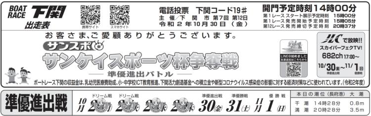 【下関競艇予想(10/30)】サンケイスポーツ杯争奪戦(2020)5日目の買い目はコレ!