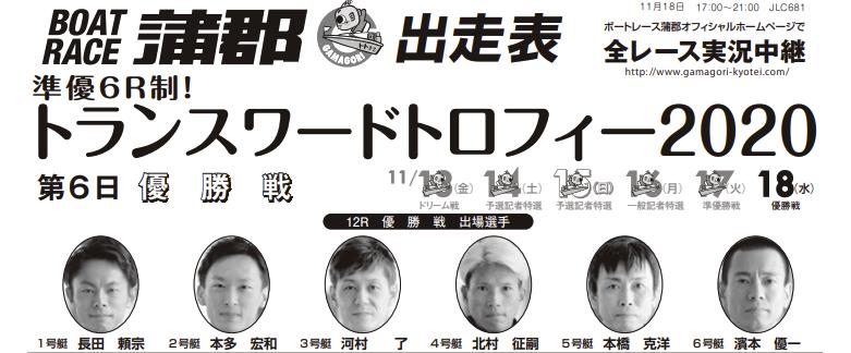 【蒲郡競艇予想(11/18)】トランスワードトロフィー2020(2020)最終日の買い目はコレ!