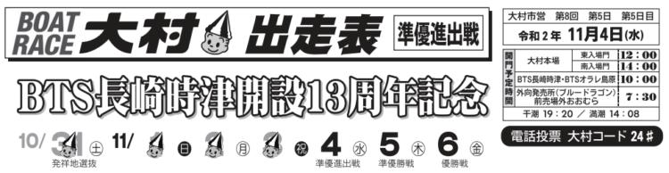 【大村競艇予想(11/4)】BTS長崎時津開設記念(2020)5日目の買い目はコレ!