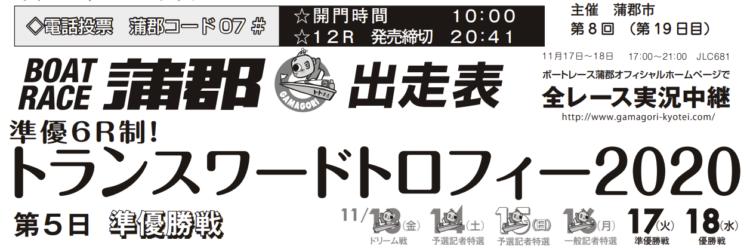 【蒲郡競艇予想(11/17)】トランスワードトロフィー2020(2020)5日目の買い目はコレ!