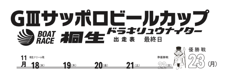 【桐生競艇予想(11/23)】G3サッポロビールカップ(2020)最終日の買い目はコレ!