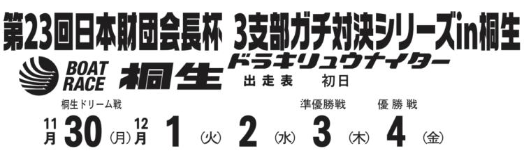 【桐生競艇予想(11/30)】日本財団会長杯 3支部ガチ対決シリーズ(2020)初日の買い目はコレ!