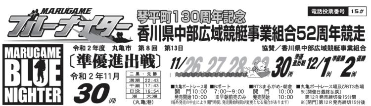 【丸亀競艇予想(11/30)】香川県中部広域競艇事業組合52周年記念(2020)5日目の買い目はコレ!