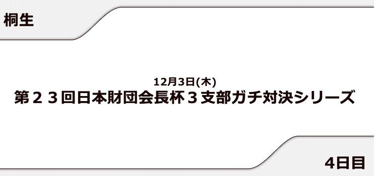 【桐生競艇予想(12/3)】日本財団会長杯 3支部ガチ対決シリーズ(2020)4日目の買い目はコレ!
