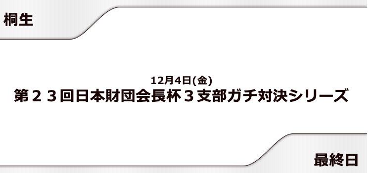 【桐生競艇予想(12/4)】日本財団会長杯 3支部ガチ対決シリーズ(2020)最終日の買い目はコレ!